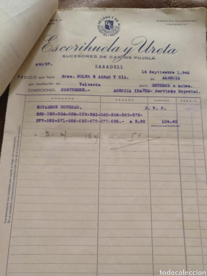 Facturas antiguas: 13 hojas de pedidos Escorihuela y Ureta. Sucesores Carlos Pujolá. Sabadell. 1946. Almería capital - Foto 5 - 170257028