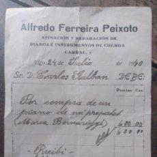 Facturas antiguas: ALFREDO FERREIRA PEIXOTO VIGO 1940 RECIBO DE COMPRA DE PIANO. Lote 171020573