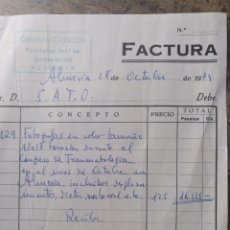 Facturas antiguas: CINE FOTO CARRIÓN ALMERÍA 1974. Lote 171021105