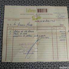 Facturas antiguas: FACTURA TALLERES MARTÍN VESPA 1961. Lote 171744518