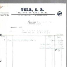 Facturas antiguas: FACTURA. TELA. TEJIDOS DE TODAS CLASES. 1952. BARCELONA. Lote 172127082