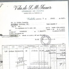 Facturas antiguas: FACTURA. VDA DE J.M.JANER. GENEROS DE PUNTO. CALELLA, BARCELONA. 1952. Lote 172127107