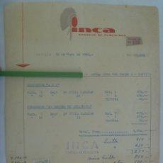 Facturas antiguas: FACTURA DE LA EMPRESA INCA , CONSEJO DE PUBLICIDAD . SEVILLA, 1960 . CON VIÑETA. Lote 172633565