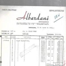 Facturas antiguas: FACTURA. ALBARDANE. ORFEBRES. 1944. BARCELONA. Lote 172984627