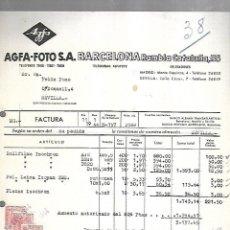 Facturas antiguas: FACTURA. AGFA - FOTO. BARCELONA. SEVILLA. 1944. Lote 172984773