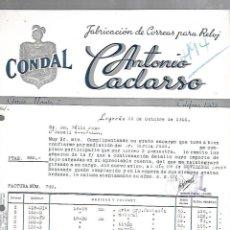 Facturas antiguas: FACTURA. CONDAL. ANTONIO CACLARSO. CORREAS PARA RELOJ. LOGROÑO. 1944. Lote 172984845