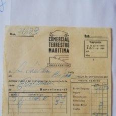 Facturas antiguas: FACTURA COMERCIAL TERRESTRE Y MARÍTIMA BÉJAR 1960. Lote 174980787