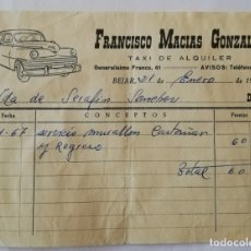 Facturas antiguas: FACTURA FRANCISCO MACIAS GONZÁLEZ TAXISTA 1967. Lote 174981053