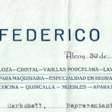 Facturas antiguas: ALCOY (ALICANTE) FERRETERÍA LA CAMPANA, FEDERICO IVORRA - FECHADA ABRIL 1937 GUERRA CIVIL. Lote 174984655