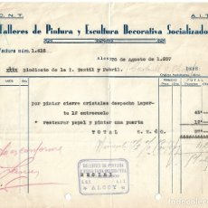 Facturas antiguas: ALCOY TALLERES DE PINTURA Y ESCULTURA DECORATIVA SOCIALIZADOS C.N.T.- A.I.T AGOSTO 1937 GUERRA CIVIL. Lote 174985335
