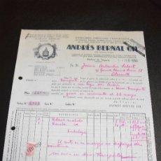 Facturas antiguas: FACTURA DE MOLINA DE SEGURA MURCIA FABRICA PIMENTON AZAFRAN EL MIGUELETE ANDRES BERNAL 1950. Lote 175013342