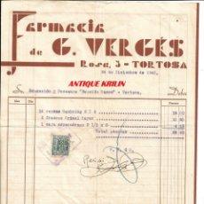Facturas antiguas: TORTOSA.- FARMACIA G. VERGES 1940 .- FACTURA SECCION DE BOXEO EDUCACION Y DENCANSO. Lote 175459879