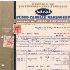 Facturas antiguas: FABRICA DE CALCETINES AÑO 1940 - VIÑETA ARENYS DE MAR-PEDRO CABALLÉ MASSAGUER - BARCELONA. Lote 176203513