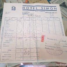 Facturas antiguas: ANTIGUA FACTURA Y RECIBO HOTEL SIMÓN ALMERIA 1951. Lote 176732562