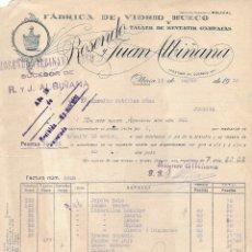 Facturas antiguas: FACTURA FABRICA DE VIDRIO ROSENDO Y JUAN . OLLERIA (VALENCIA) 1928. Lote 176781873
