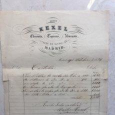 Facturas antiguas: MARTIN KEXEL.EBANISTA, TAPICERO, ADORNISTA.CALLE ALCALÁ, 32. MADRID. FACTURA DE 1857.. Lote 177193764