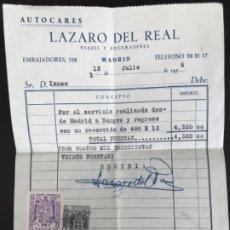 Facturas antiguas: AUTOCARES LAZARO DEL REAL RECIBI 1956 VIAJES Y ESCURSIONES MADRID BURGOS SELLADO ESPECIAL AGUILA . Lote 177197188