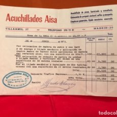 Facturas antiguas: FACTURA ACUCHILLADOS AISA 1972 COLOCACION PARQUET MADERA ROBLE LIJADO SUELO OBRA . Lote 177457594