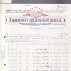 Facturas antiguas: BARCELONA 1923-1924-1925 - 6 FACTURAS / CARTAS - ISIDRO MIRAMBELL - TEJIDOS, CUTÍES Y VICHIS. Lote 177503123