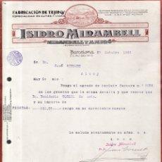 Facturas antiguas: BARCELONA 1923/1924/1926 - 29 FACTURAS / CARTAS - ISIDRO MIRAMBELL -TEJIDOS CUTÍES Y VICHIS. Lote 177610333