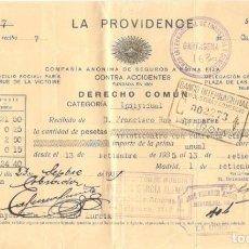 Facturas antiguas: RECIBO DE LA PROVIDENCE COMPAÑIA DE SEGUROS (A FRANCISCO ROS MANZANARES, LA UNIÓN, MURCIA) 1935. Lote 178122163