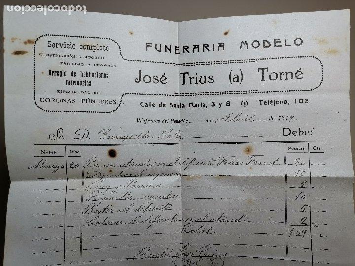 FACTURA SERVICIOS-FUNERARIA-FUNERARIO-CEMENTERIO-SEPELIO-VILAFRANCA PENEDES 1919 TRIUS TORNÉ (Coleccionismo - Documentos - Facturas Antiguas)