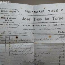 Facturas antiguas: FACTURA SERVICIOS-FUNERARIA-FUNERARIO-CEMENTERIO-SEPELIO-VILAFRANCA PENEDES 1919 TRIUS TORNÉ. Lote 178858715