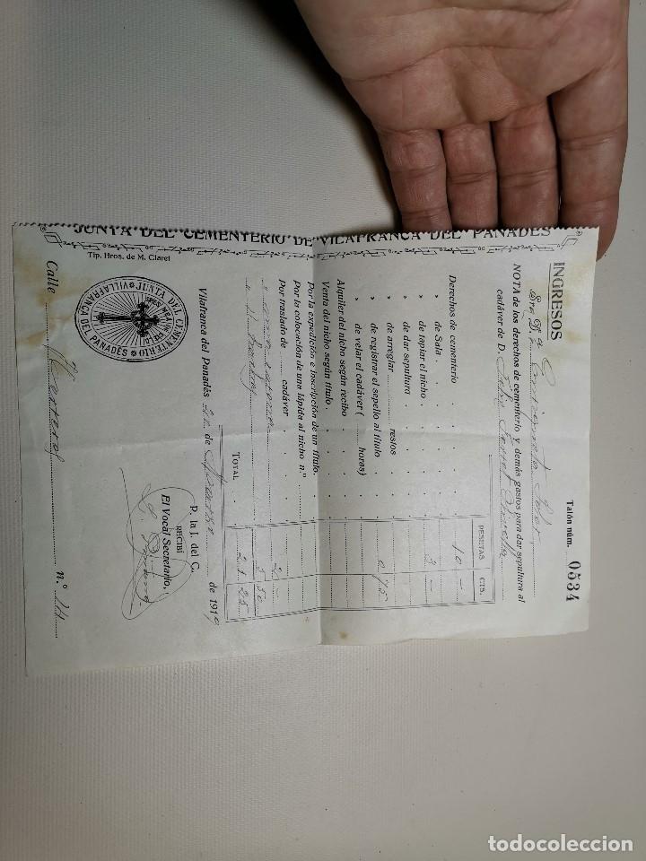 Facturas antiguas: FACTURA SERVICIOS-FUNERARIA-FUNERARIO-CEMENTERIO-SEPELIO-FUNERAL VILAFRANCA PENEDES 1919 - Foto 2 - 178858858