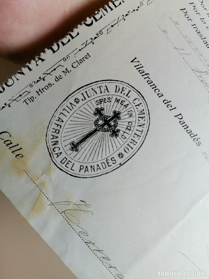 Facturas antiguas: FACTURA SERVICIOS-FUNERARIA-FUNERARIO-CEMENTERIO-SEPELIO-FUNERAL VILAFRANCA PENEDES 1919 - Foto 4 - 178858858