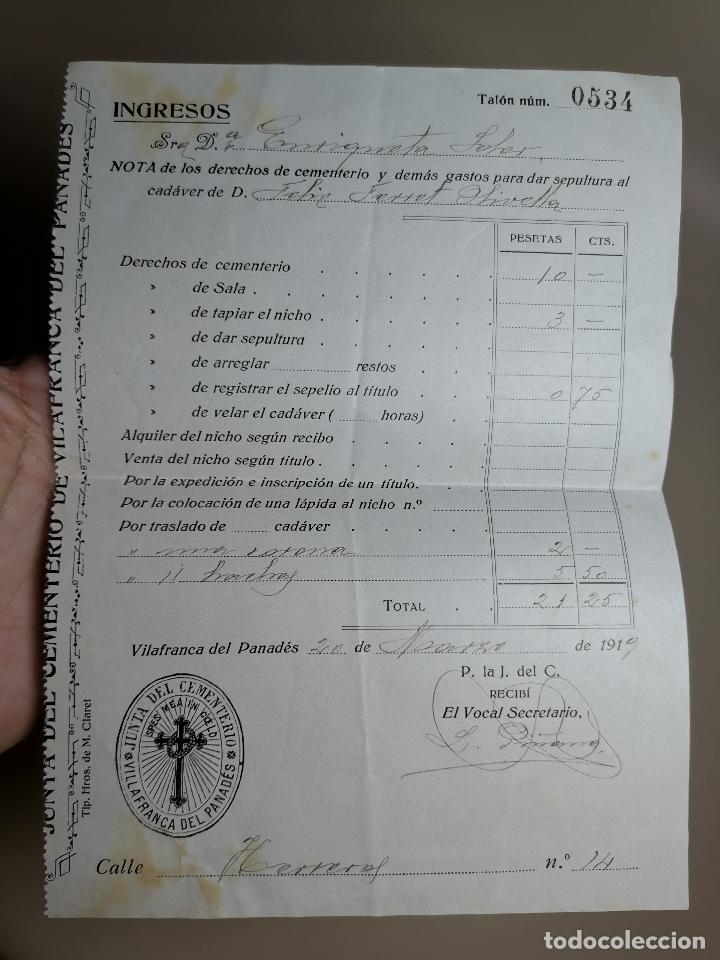 FACTURA SERVICIOS-FUNERARIA-FUNERARIO-CEMENTERIO-SEPELIO-FUNERAL VILAFRANCA PENEDES 1919 (Coleccionismo - Documentos - Facturas Antiguas)