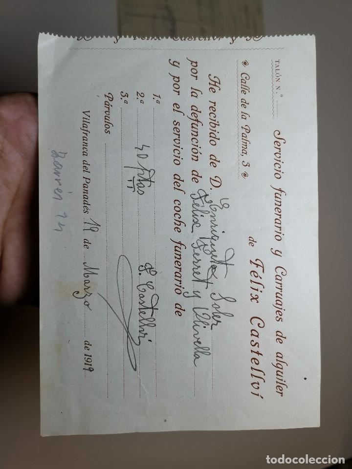 Facturas antiguas: FACTURA SERVICIOS-CARRUAJES-FUNERARIO-CEMENTERIO- VILAFRANCA PENEDES--- FELIX CASTELLVI 1919 - Foto 3 - 178859058