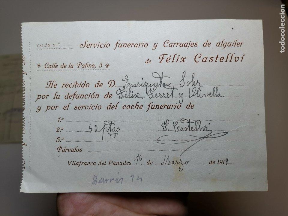FACTURA SERVICIOS-CARRUAJES-FUNERARIO-CEMENTERIO- VILAFRANCA PENEDES--- FELIX CASTELLVI 1919 (Coleccionismo - Documentos - Facturas Antiguas)