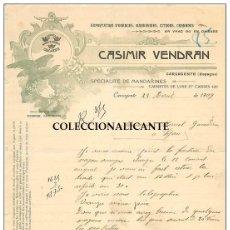 Facturas antiguas: CARCAGENTE FACTURA CARTA FECHADA 1909 - NARANJAS EXPORTACION - RARA IMPRESA EDITADA EN FRANCIA. Lote 178969383