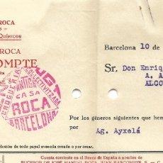 Facturas antiguas: FACTURA GUERRA CIVIL ANTIGA CASA ROCA DROGUERÍA COLECTIVIZADA UGT BARCELONA AÑO 1937. Lote 179071911