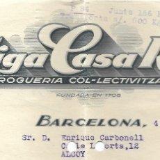 Facturas antiguas: FACTURA GUERRA CIVIL ANTIGA CASA ROCA DROGUERÍA COL-LECTIVITZADA UGT BARCELONA AÑO 1937. Lote 179079482