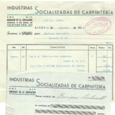 Facturas antiguas: GUERRA CIVIL- FACTURA Y RECIBO INDUSTRIAS SOCIALIZADAS DE CARPINTERÍA - ALCOY - VIÑETA LOCAL - 1938. Lote 179080023