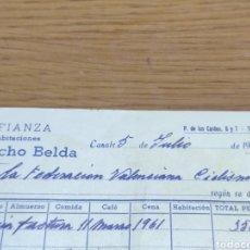 Facturas antiguas: FACTURA 1962 DE LA FEDERACIÓN VALENCIANA DE CICLISMO MANUEL SANCHO BELDA. Lote 179090107