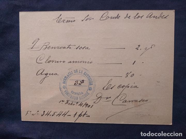 Facturas antiguas: Farmacia laboratorio químico y droguería. Juan González y de Rojas. Factura Conde de los Andes. 1900 - Foto 2 - 179126492