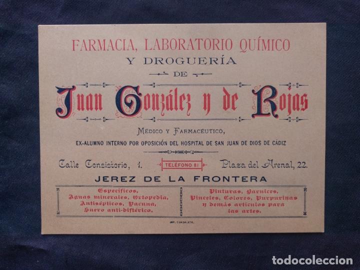 FARMACIA LABORATORIO QUÍMICO Y DROGUERÍA. JUAN GONZÁLEZ Y DE ROJAS. FACTURA CONDE DE LOS ANDES. 1900 (Coleccionismo - Documentos - Facturas Antiguas)