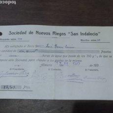 Facturas antiguas: RECIBO SOCIEDAD DE NUEVOS RIEGOS SAN INDALECIO ALMERÍA 1942. Lote 179183583