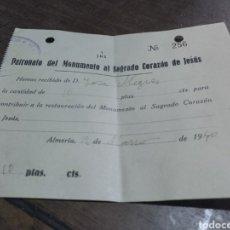 Facturas antiguas: RECIBO PATRONATO DEL MONUMENTO AL SAGRADO CORAZÓN DE JESÚS ALMERÍA 1940. Lote 179197788