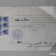 Facturas antiguas: RECIBO NOTARIAL CON SEIS SELLOS FISCALES 25 CTS DEL AÑO 1963. Lote 179237391