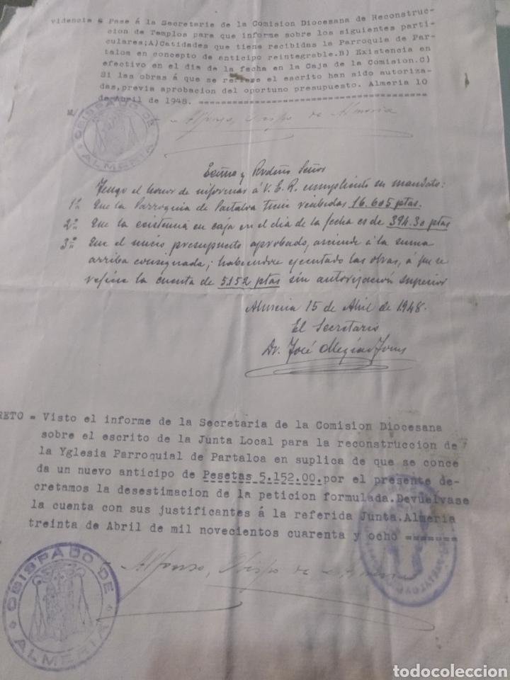 Facturas antiguas: presupuesto para realizar obras en la parroquia San Antonio de Padua , Partaloa Almería 1948 - Foto 6 - 180029511