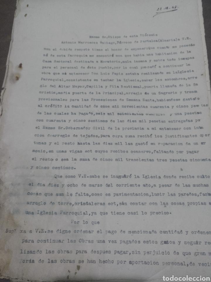 PRESUPUESTO PARA REALIZAR OBRAS EN LA PARROQUIA SAN ANTONIO DE PADUA , PARTALOA ALMERÍA 1948 (Coleccionismo - Documentos - Facturas Antiguas)