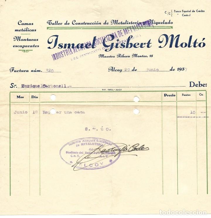 GUERRA CIVIL ALCOY INDUSTRIA ALCOYANA SOCIALIZADA DE METALISTERÍA CNT-AIT JUNIO 1937 (Coleccionismo - Documentos - Facturas Antiguas)