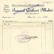 Facturas antiguas: GUERRA CIVIL ALCOY INDUSTRIA ALCOYANA SOCIALIZADA DE METALISTERÍA CNT-AIT JUNIO 1937. Lote 180123187