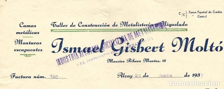 Facturas antiguas: GUERRA CIVIL ALCOY INDUSTRIA ALCOYANA SOCIALIZADA DE METALISTERÍA CNT-AIT JUNIO 1937 - Foto 2 - 180123187