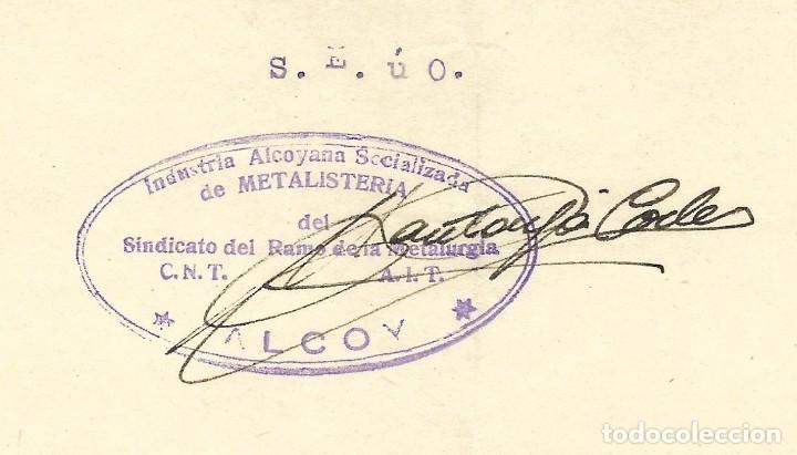 Facturas antiguas: GUERRA CIVIL ALCOY INDUSTRIA ALCOYANA SOCIALIZADA DE METALISTERÍA CNT-AIT JUNIO 1937 - Foto 3 - 180123187