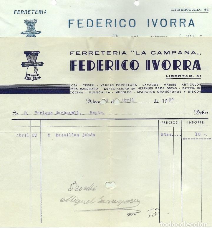 GUERRA CIVIL ALCOY DOS FACTURAS FERRETERÍA LA CAMPANA FEDERICO IVORRA FEBRERO 1937 Y ABRIL 1938 (Coleccionismo - Documentos - Facturas Antiguas)