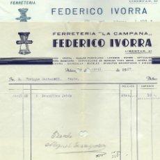 Facturas antiguas: GUERRA CIVIL ALCOY DOS FACTURAS FERRETERÍA LA CAMPANA FEDERICO IVORRA FEBRERO 1937 Y ABRIL 1938. Lote 180123325